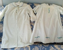 Vintage Baby Nightie Set, Child's Nightgown and Robe, Bedtime Flannel Set, Blue Nightgown and Robe, Embroidered Nightgown, Antique Boys Gown