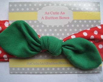 Christmas Jersey knit tie headband, Baby Headband, Baby headbands,  Newborn headband, Baby Hair Bows, Hair Bow Band.