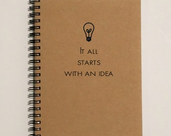 Writing Journal, Idea Journal, Idea Notebook, It all starts with an idea - 5 x 7 Journal, Notebook, Sketchbook, Scrapbook, Lightbulb