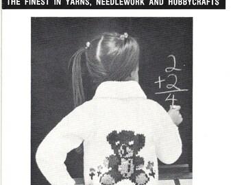 Mary Maxim Teddy Bear Sweater Knitting Pattern Child's Size 4, 6 No. 4253