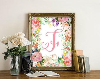 Letter F Printable, Nursery Decor, Nursery Wall Art, Nursery Prints, Nursery Art, Letters, Monogram Floral Letter, Woodland Nursery