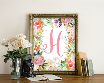 Letter H Print, Printable, Nursery Wall Art, Nursery Prints, Nursery Art, Letters, Monogram Floral Letter, Woodland Nursery