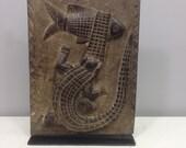 African  Door Carved Wood Dogon Mali Handmade Granary door Storage Alligator Fish Door Wealth Statement Status