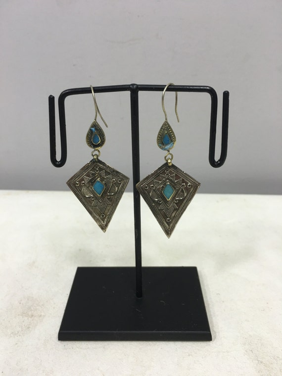 Earrings Silver Afghanistan Turquoise Etched Dangle Silver Handmade Sterling Silver Turquoise Earrings Etched Teardrop Unique E123