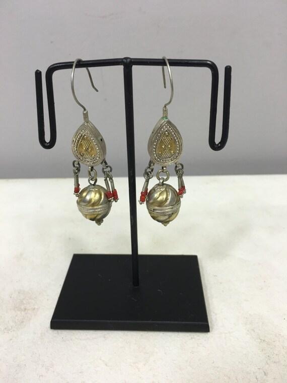 Earrings SIlver Gold Gilt  Dangle Earrings Carnelain Afghanistan Handmade Jewelry Earrings Carnelian Red Tribal Silver Unique Statement E124