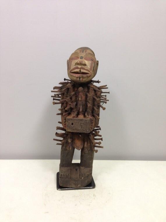 African Nail Fetish Congo Wood Nails Cameroon Handmade Hand