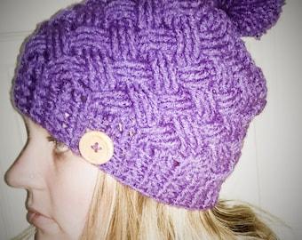Slouchy Hat Criss Cross Pom Pom