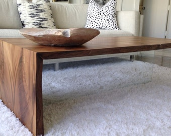 Great Wood Coffee Table   Floating And Rustic Design With Live Edge