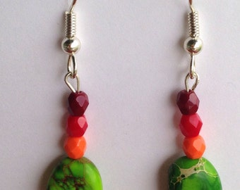 Green Orange Red Multicolor stone Beaded Dangle Earrings, silver plated hypoallergenic fish hooks beads