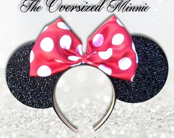 High End Classic Oversized Red Bow Polka Dot Minnie Mouse Ears Headband