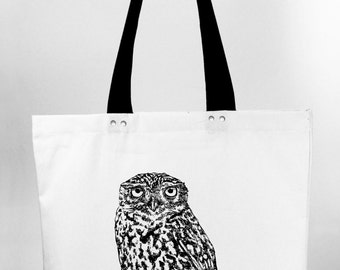 Little owl - hand screen printed cotton canvas tote bag