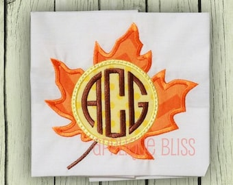 Monogram Leaf Digital Applique Design - Fall - Autumn - Machine Embroidery - Thanksgiving Embroidery Design - Circle Monogram - Download