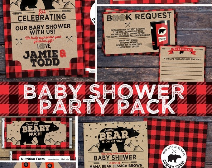 Lumberjack baby shower Invitation //  Buffalo Plaid Woodland Invitation // Lumberjack Invite // Rustic  //  Bear , camping, party pack