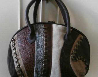 Vintage 1980's Multi-Textile & Vinyl Holdall Style Hand Bag in Shades of Brown