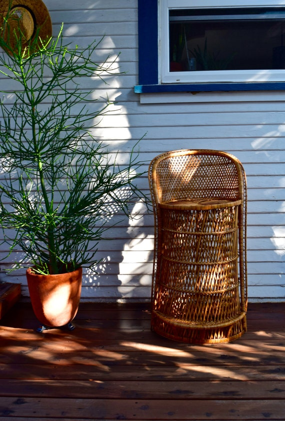 vintage buri fan back wicker bar stool. Black Bedroom Furniture Sets. Home Design Ideas