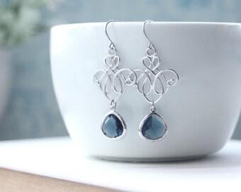 Blue Chandelier Earrings, Venetian Drop Earrings, Romantic Blue Earrings. Blue Victorian Dangle Earring Bridesmaid Gift, Silver Blue Wedding