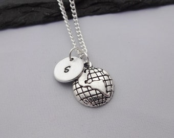 Initial Globe Necklace, Travel Necklace, Initial Charm Necklace, Earth Necklace, World Necklace, Travel Gifts, Personalised Travel Gifts
