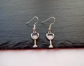 Wine Glass Earrings, Charm earrings, Silver Earrings, Wine Jewellery