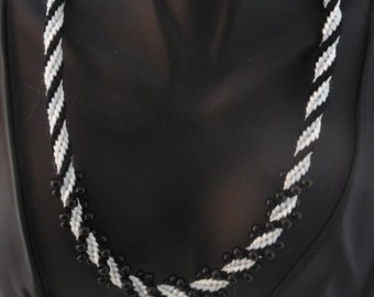 Black & White Spiral Kumihimo Braided Necklace