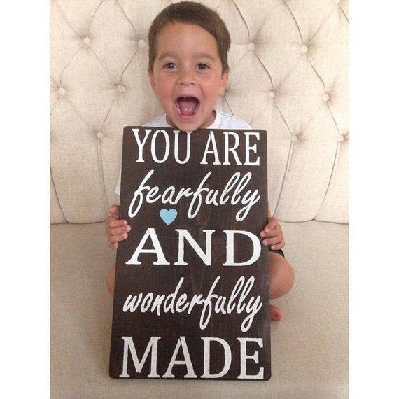 You Are Fearfully And Wonderfully Made,Sign,Scripture Art,Sign,Wooden Sign,Rustic Sign,Wall Decor,Home Decor,Christian Home Decor,Childrens