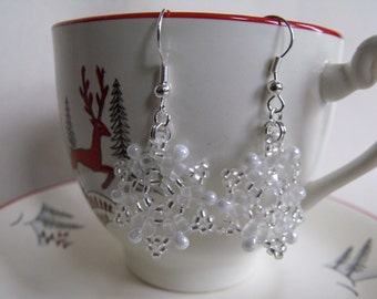Hand Beaded White and Clear Snowflake Earrings