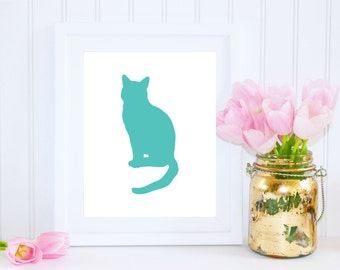 Cat Printable, Turquoise Cat Art Print, Nursery Art, Easter Art, Cat Poster, Instant Download, DIY Easter Decor, Turquoise Nursery Art, Cat