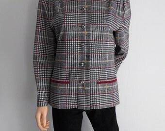 Houndstooth plaid check box jacket blazer French retro vintage grey burgundy lightweight jacket blazer top Large