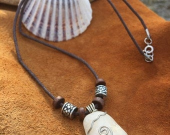 Quartz Pendant Necklace | Wire Wrapped Sea Tumbled Quartz Pendant Necklace with Beads - Tribal Boho Beach Magic Style Jewelry Accessory