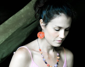 Bright orange, violet, lilac and soft pink short Maasai bead-work necklace