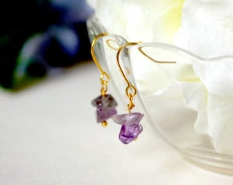 Stone / earring / purple / Gift for her, Crystal Earrings, Gemstone, Gemstone Earrings, Dangle Earrings, Cute Earrings, Drop Earrings