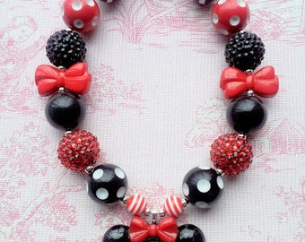 Minnie Necklace, Minnie Mouse, Walt Disney World, Chunky Bubblegum Bead Necklace, 20mm Beads, Disney Trip, Disney Vacation