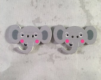 Elephant Buttons - Set of 2-Elephant Buttons - Wooden Buttons - DIY Crafts, Hairbows, Scrapbooking and More!
