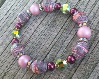 Paper Bead Bracelet, Paper Bead Jewelry, Multicolored Paper Beads, Pink Pearl Beads, Paper Jewelry, Paper Beads Elastic Bracelet, Crystals