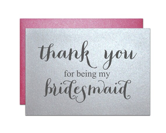thank you for for being my bridesmaid wedding note card