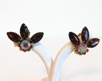 Vintage Topaz and Aurora Borealis (AB) Rhinestone Clip On Style Earrings - Vintage Earrings, Vintage Rhinestone Earrings