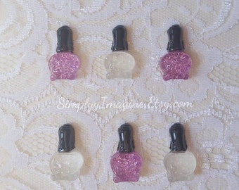 Sparkle Nail Polish Cabochon Resin Flatback - 6 PCS
