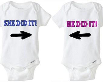 Twin Onesies Set - Twinning - Baby Boy & Girl Twin Onesies - Baby Twins - Twin Onesies - He Did It She Did It Onesies - Twin Onesies
