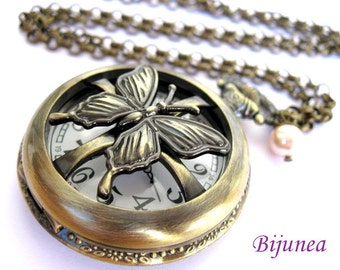 Butterly watch necklace - insect butterfly clock necklace - Butterfly necklace - Butterfly jewelry - Watch jewelry n217