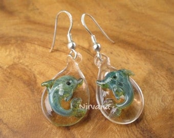 Custom Made .925 Sterling Silver Glass Dolphin Hanging Earrings (Free Shipping from Thailand) - 1 Pair