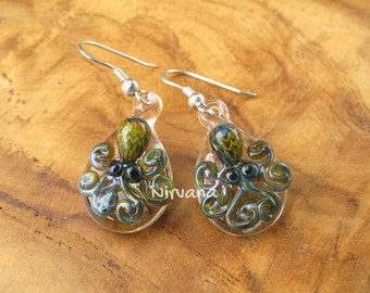 Custom Made Glass Exotic Dark Green Octopus hanging earrings on .925 Sterling Silver ear wires (Free Shipping from Thailand) - 1 Pair