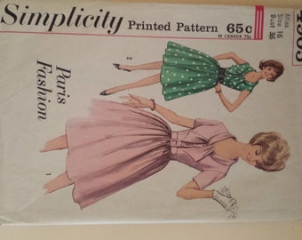 Vintage Simplicity 4095 One Piece Step In Dress Bust 36 Sewing Pattern