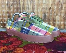 Vintage, VTG, Dead Stock, Women's Shoes, 90's ESPRIT Plaid Madras Shoes Sz. 9 Women Sneakers Kicks