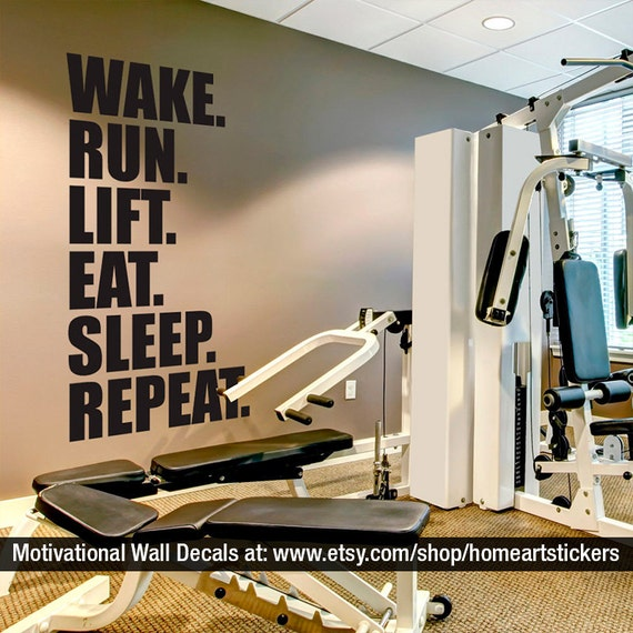 Interior Design Ideas For Home Gym: Gym Wall Decal Exercise Stickers Workout Stickers