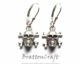 Skull and Crossbones Earrings - Jolly Roger Earrings - Halloween Earrings - Pirate Earrings - Skull and Bones Earrings
