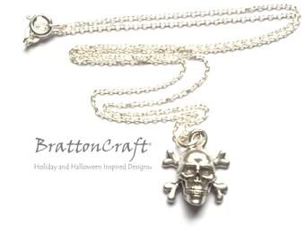 Skull and Crossbones Necklace - Jolly Roger Necklace - Halloween Necklace - Pirate Necklace - Skull and Bones Earrings - Epsteam