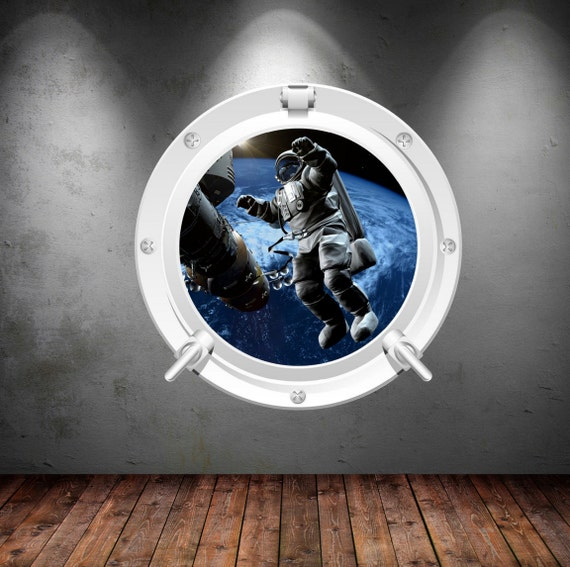 Porthole wall decal astronaut earth moon mars space galaxy for Astronaut wall mural