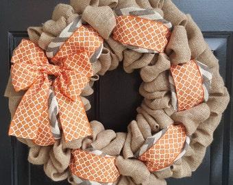 Front Door Wreath, Burlap Wreath, Spring Wreath, Fall Burlap Wreath, Natural and Grey and White Chevron Burlap-Orange Quatrefoil Bow