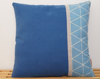 Housse de coussin, bleu et asanoha   /     Pillow, cushion cover, blue and asanoha