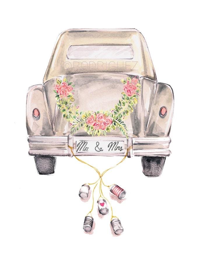 vintage wedding getaway car watercolormarkettestudio