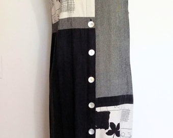 Graphic dress, L, XL, summer dress, fall dress, artsy dress, linen dress, minimalist dress, patchwork dress, gauze dress